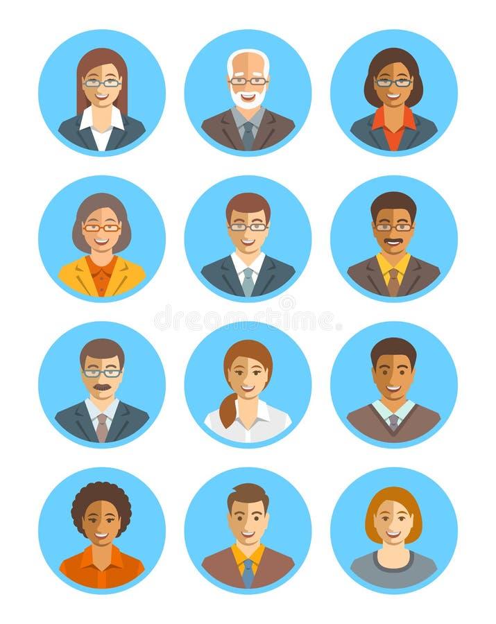 Ludzie biznesu wektorowych avatars ustawiających ilustracji
