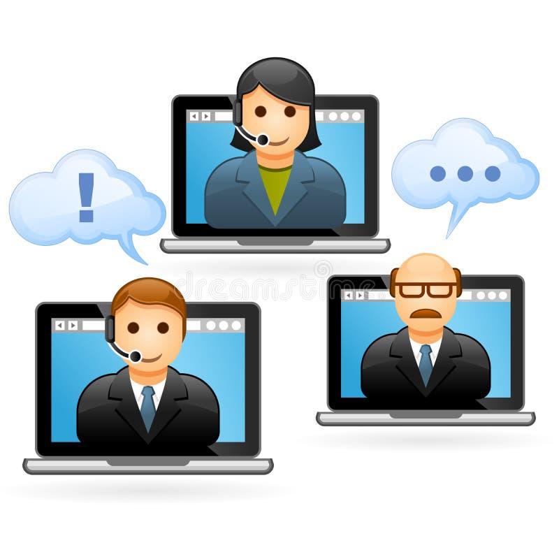 Ludzie biznesu wideokonferencja wezwania ilustracja wektor