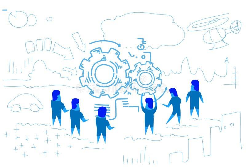 Ludzie biznesu wokoło przekładni koła mechanizmu procesu pracy zespołowej brainstorming strategii przerobowego pojęcia horyzontal ilustracja wektor