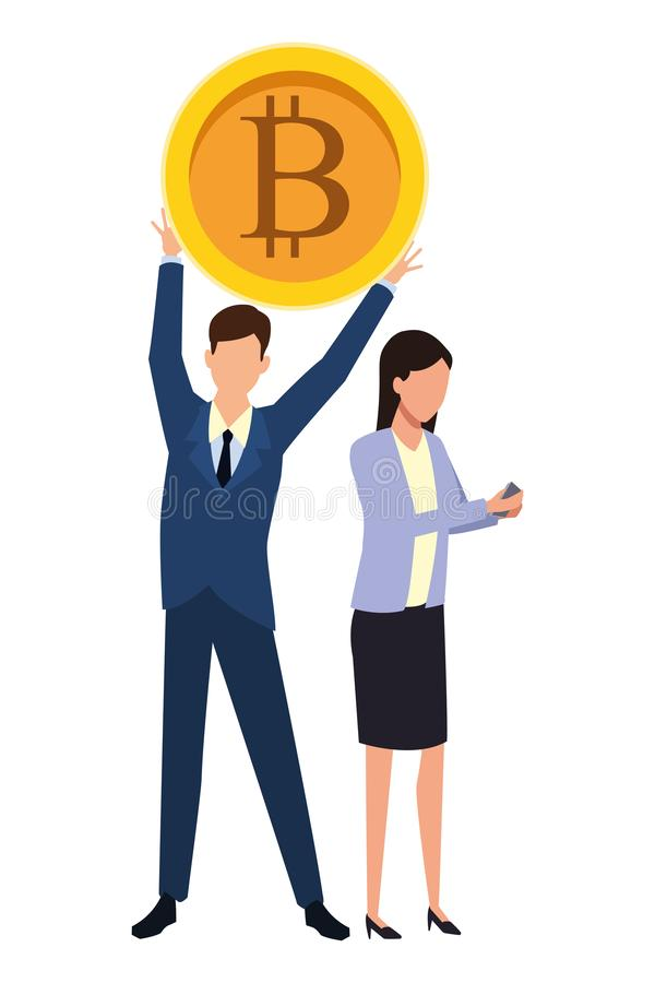Ludzie biznesu z bitcoins ilustracja wektor