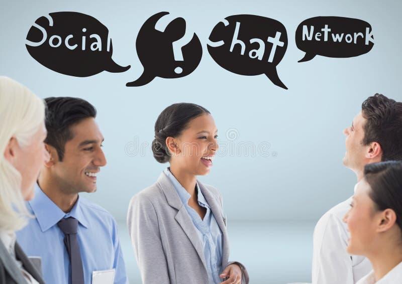 Ludzie biznesu z ogólnospołeczną środek gadki networking mową gulgoczą rysunki ilustracja wektor