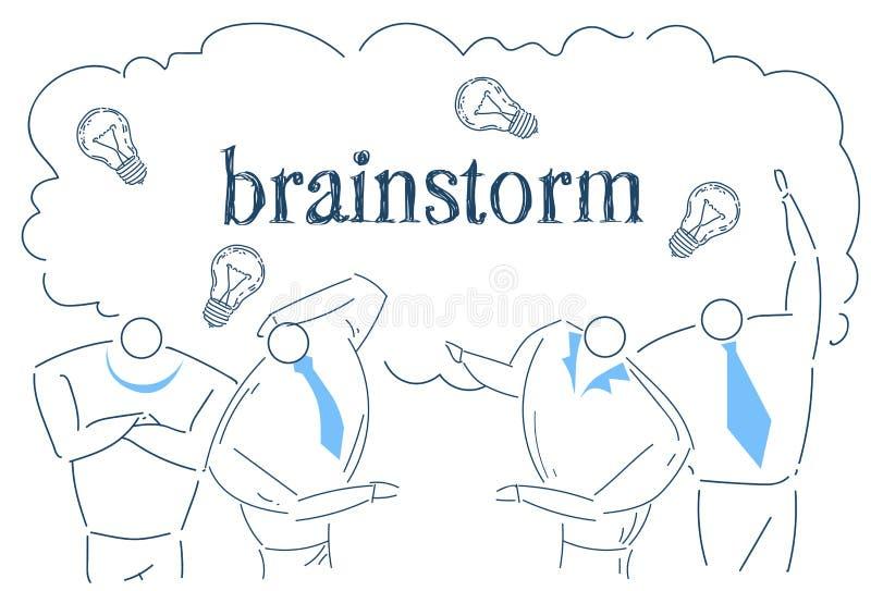 Ludzie biznesu zespalają się brainstorming pomysłu światła działania procesu strategii pojęcia nakreślenia lampowego doodle wpóln ilustracja wektor