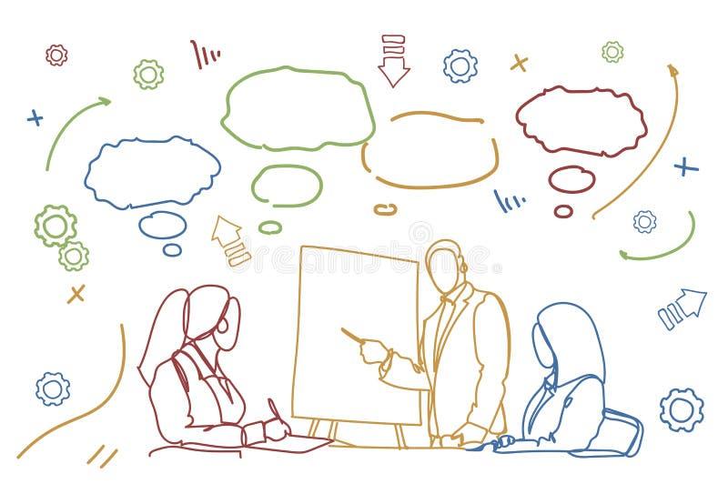 Ludzie Biznesu Zespalają się konferencję Lub szkolenia Doodle grupa biznesmeni Siedzi Przy biurka Brainstorming spotkaniem Wpólni ilustracji