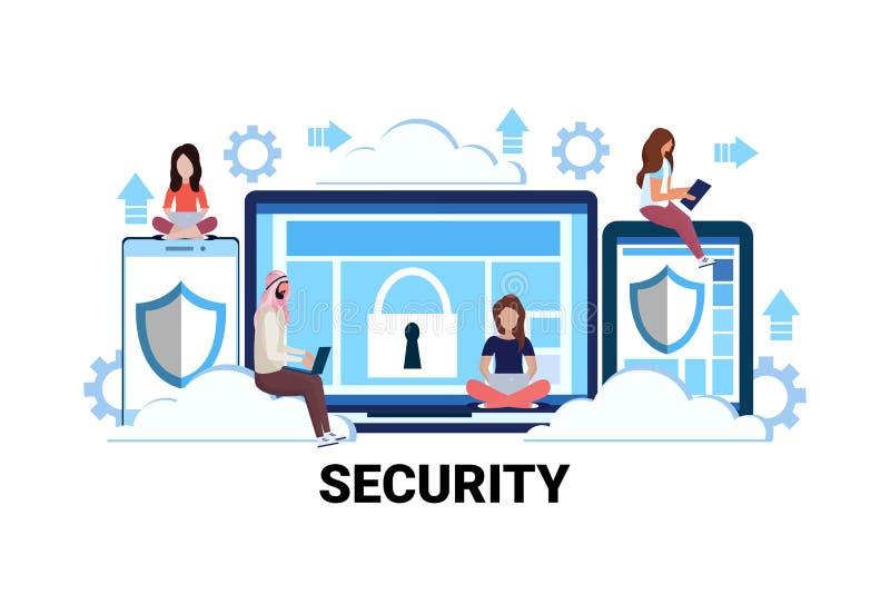 Ludzie biznesu zespalają się online ochrony pojęcia interneta bazy danych prywatności ochrony kłódki osłony przyrządu dostępu sam ilustracji