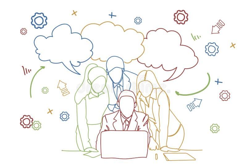 Ludzie Biznesu Zespalają się Patrzejący laptop Nad Abstrakcjonistycznym Doodle tła Brainstorming Lub dyskusi spotkaniem ilustracji
