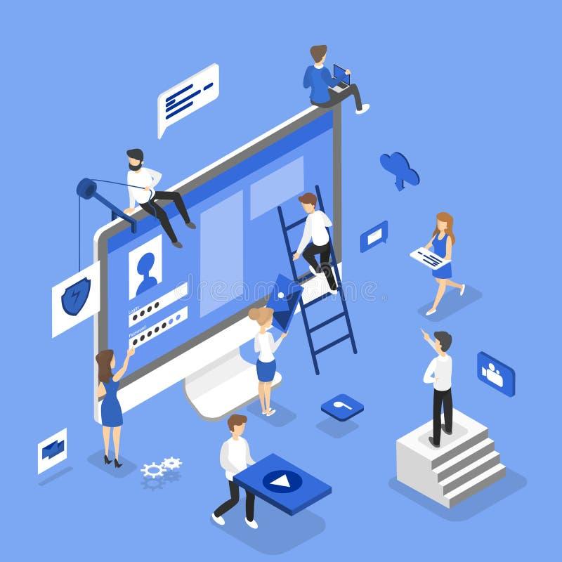Ludzie buduje stronę internetową ilustracja wektor