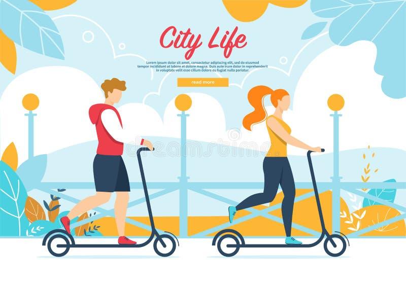 Ludzie charakterów Jedzie hulajnogę na miasto parku royalty ilustracja