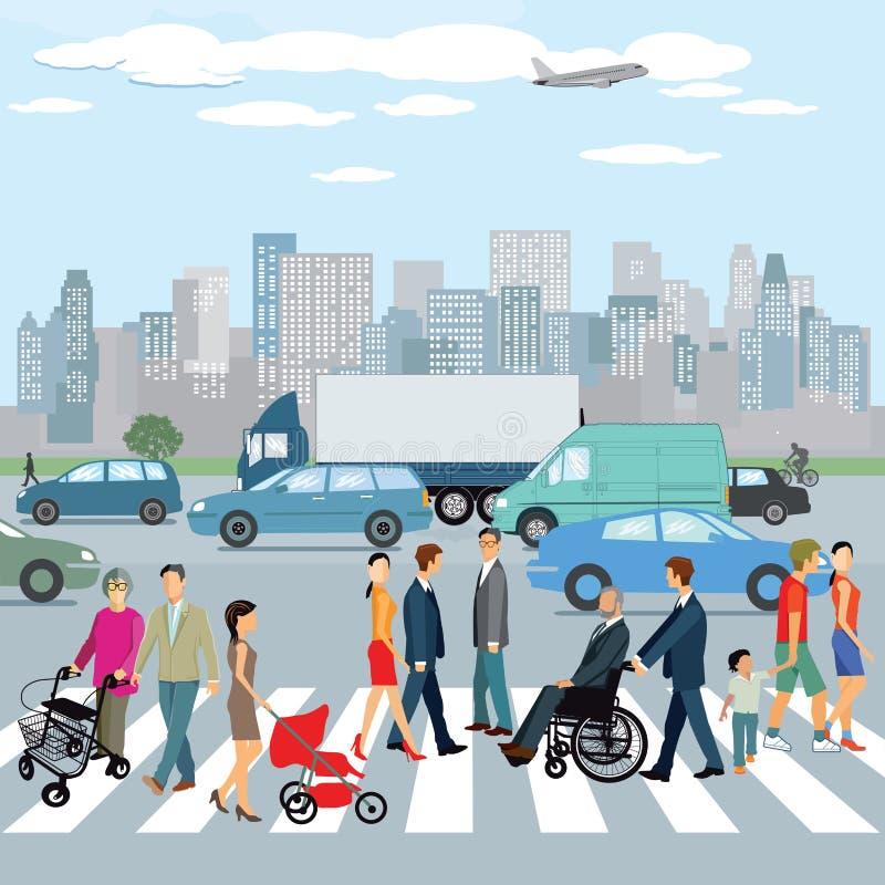 Ludzie chodzi na crosswalk w mieście ilustracji