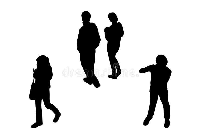 Ludzie chodzi odgórnego widoku sylwetki ustawiają 6 ilustracja wektor