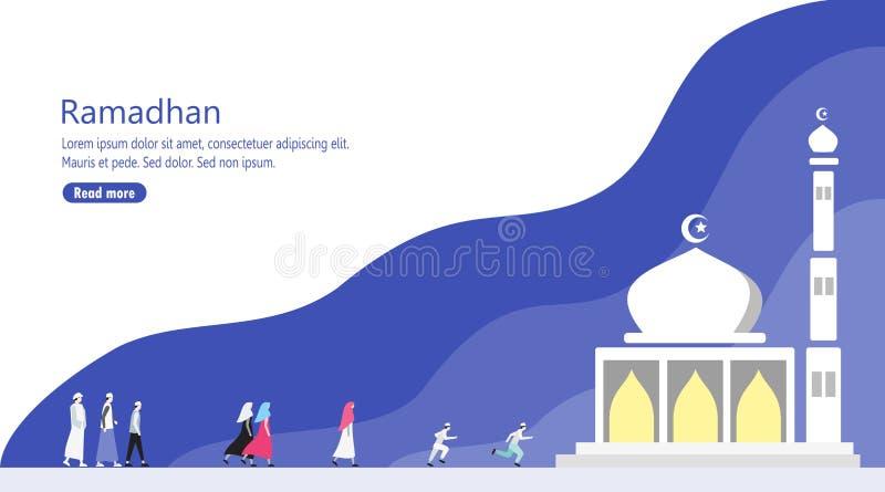 Ludzie Chodzi Pobliski meczet dla Ramadan modlitwy ilustracja wektor