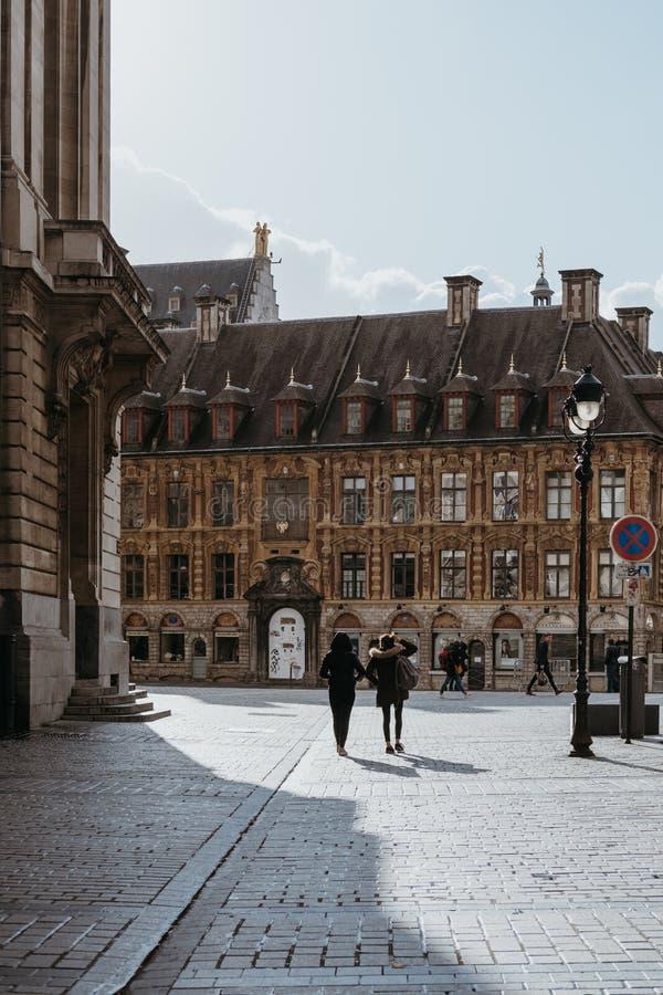 Ludzie chodzi w dół ulicę Lille, Francja obrazy royalty free