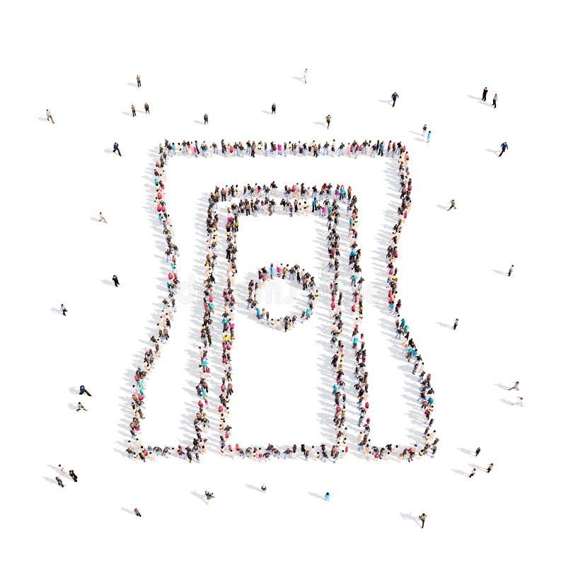 Ludzie chodzi w ołówkowej ostrzarce ilustracja 3 d świadczenia 3 d zdjęcia stock
