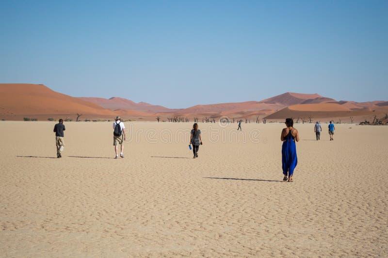 Ludzie Chodzi w pustyni, Sossusvlei soli niecki pustynia fotografia royalty free