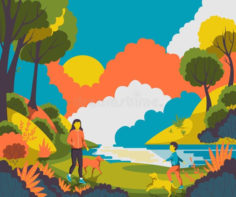 Ludzie chodzi z psami w parkowym pobliskim stawie ilustracji