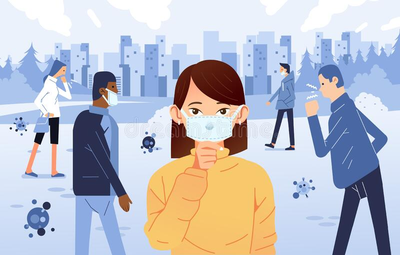 Ludzie chorzy i kaszlą w społeczeństwie, noszą maskę do zapobiegania rozprzestrzenianiu się wirusa zdjęcia royalty free