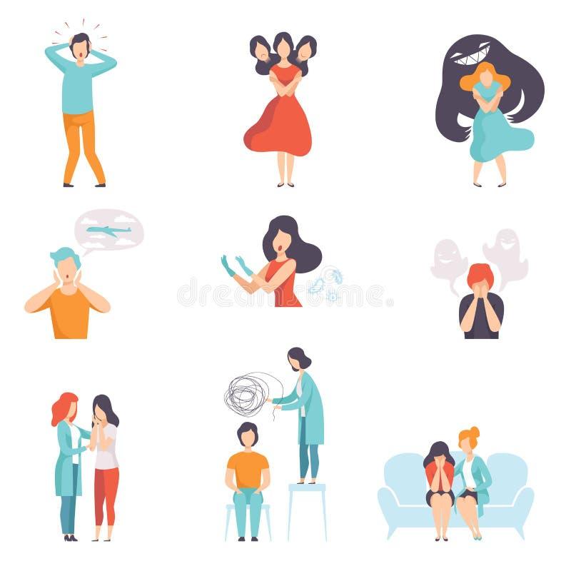 Ludzie cierpi od zaburzeń psychicznych ustawiają, psychoterapeuci taktuje pacjentów na behawioralnych lub zdrowie psychiczne prob royalty ilustracja