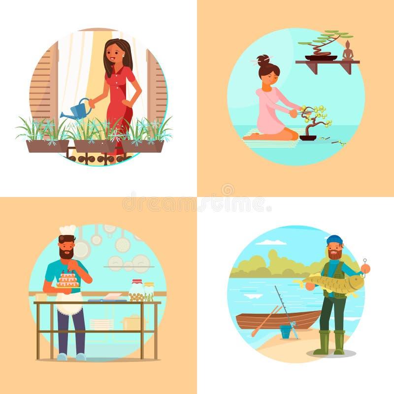 Ludzie cieszy się ich hobby wektorową płaską ilustrację ilustracja wektor