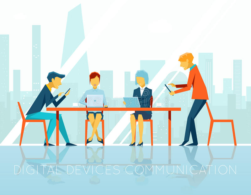 Ludzie cyfrowych przyrządów komunikacyjnych ilustracji