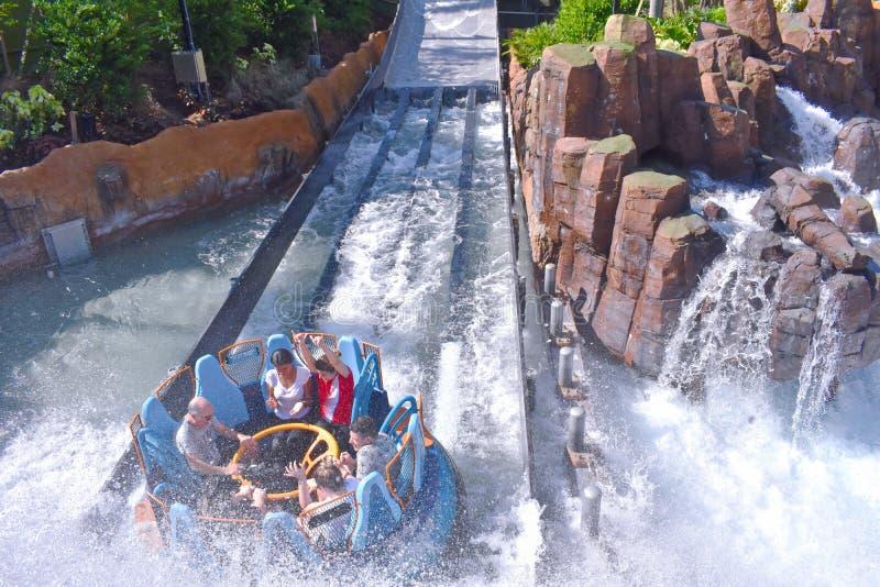 Ludzie dostaje mokry po fantastycznego spadku przy Seaworld parkiem tematycznym obraz royalty free