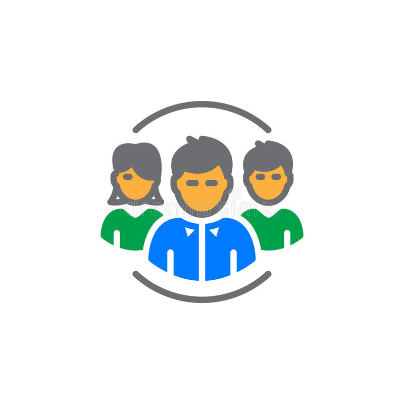 Ludzie, drużynowy ikona wektor, wypełniający mieszkanie znak, stały kolorowy piktogram odizolowywający na bielu ilustracja wektor