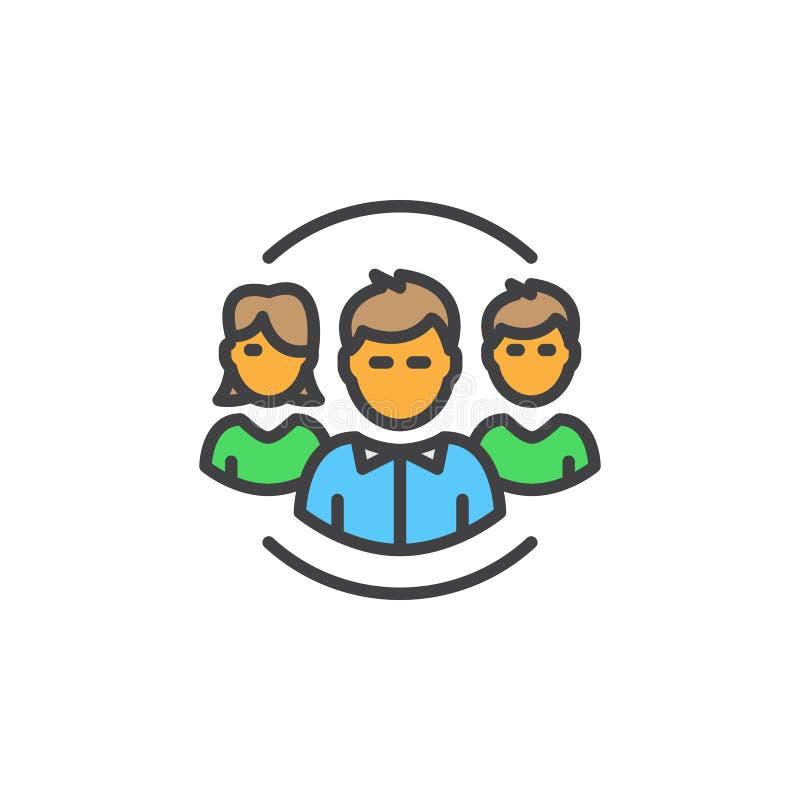 Ludzie, drużyny kreskowa ikona, wypełniający konturu wektoru znak, liniowy kolorowy piktogram odizolowywający na bielu ilustracji