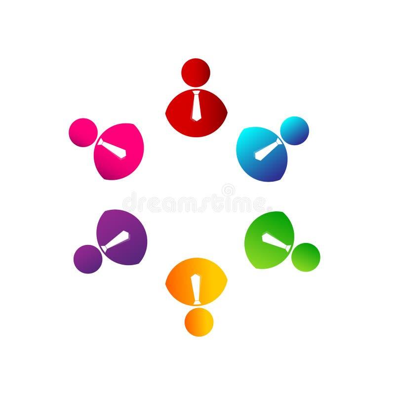 Ludzie drużyny pracy koloru zrzeszeniowych kolorowych ludzi wpólnie pracują wpólnie logo z krawatem, ludzie biznesu logo ilustracja wektor