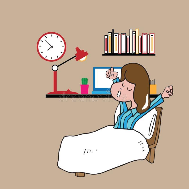 Ludzie dziewczyn budzili się lazily ilustracji
