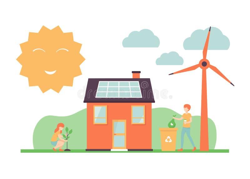 Ludzie, energia słoneczna, eco dom, wiatraczki, rodzaju śmieci ilustracji