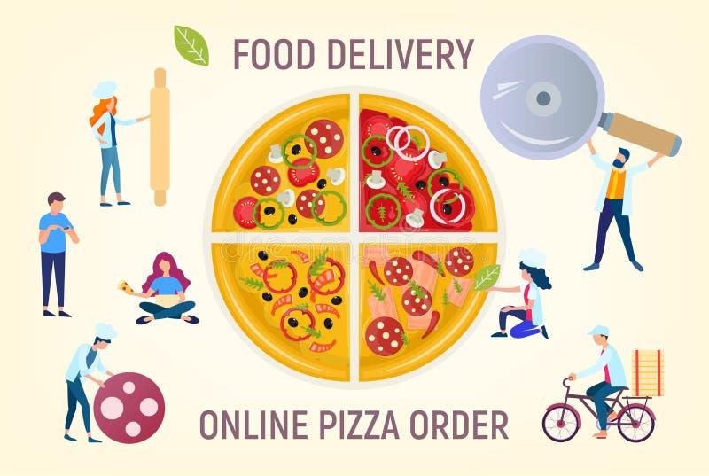 Ludzie gotują pizzę, pizzy dostawa, rozkazują online ilustracja wektor
