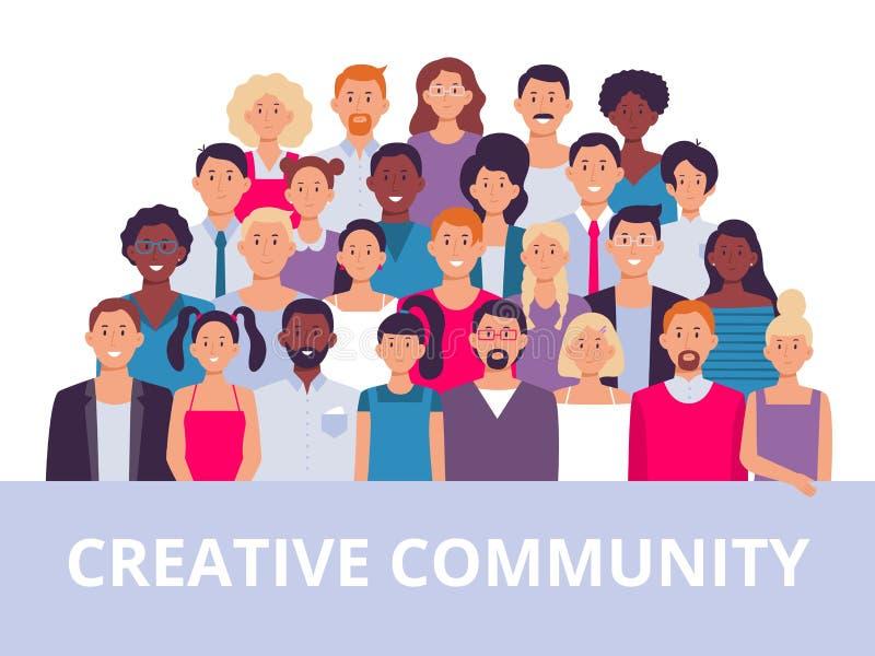 Ludzie grup Wieloetniczny społeczność portret, różnorodni dorosli ludzie i urzędnicy, zespalamy się wektorową ilustrację ilustracja wektor