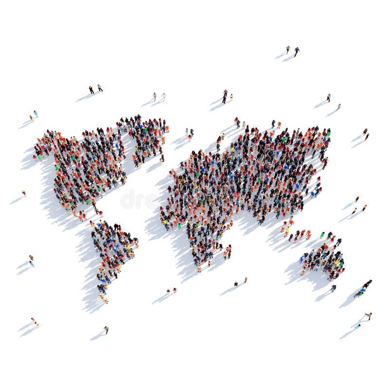 Ludzie grupa kształta mapy światu obraz royalty free
