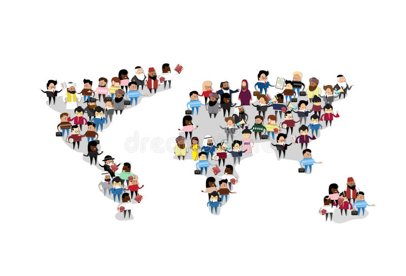 Ludzie grupa tłumu Światowej mapy zawody międzynarodowi komunikaci ilustracji