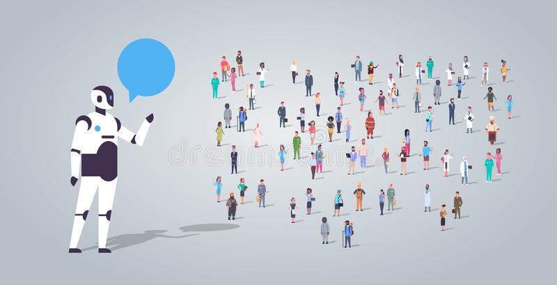 Ludzie grupują blisko chatbot roboot gadki bąbla komunikacji różni zajęcie pracownicy mieszają biegowego pracownika tłumu ilustracji