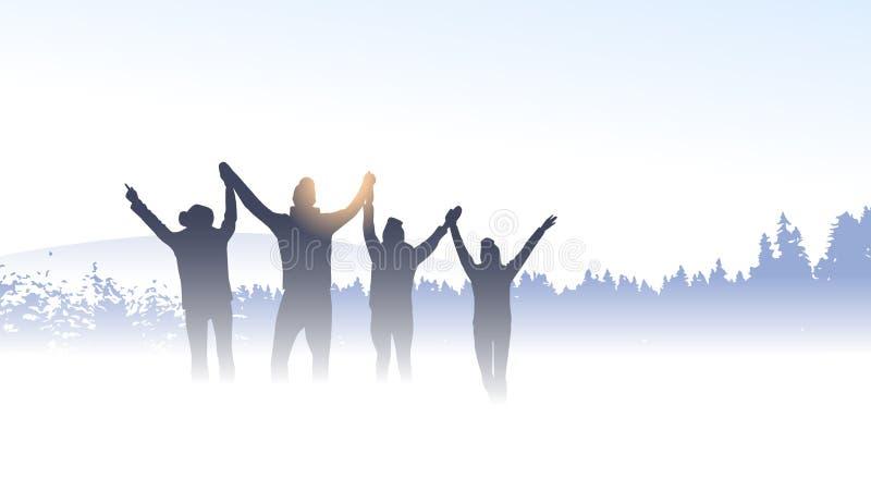 Ludzie Grupują podróżnik sylwetki przyjaciół Halnej zimy natury Lasowego tło ilustracji