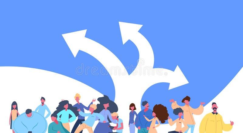 Ludzie grupują pozycję nad kierunek strzała decyzi mężczyzna kobiety charakteru różnorodności wyborowe pozy odizolowywającą samie ilustracja wektor