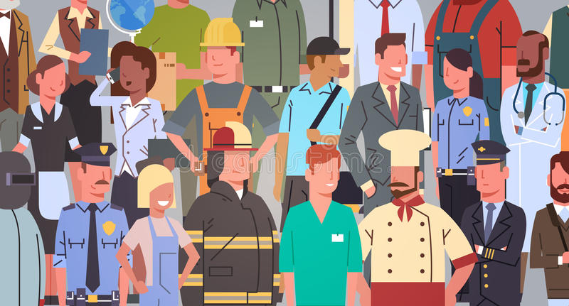 Ludzie Grupują Różnego zajęcia pracowników zawodu Ustaloną kolekcję royalty ilustracja