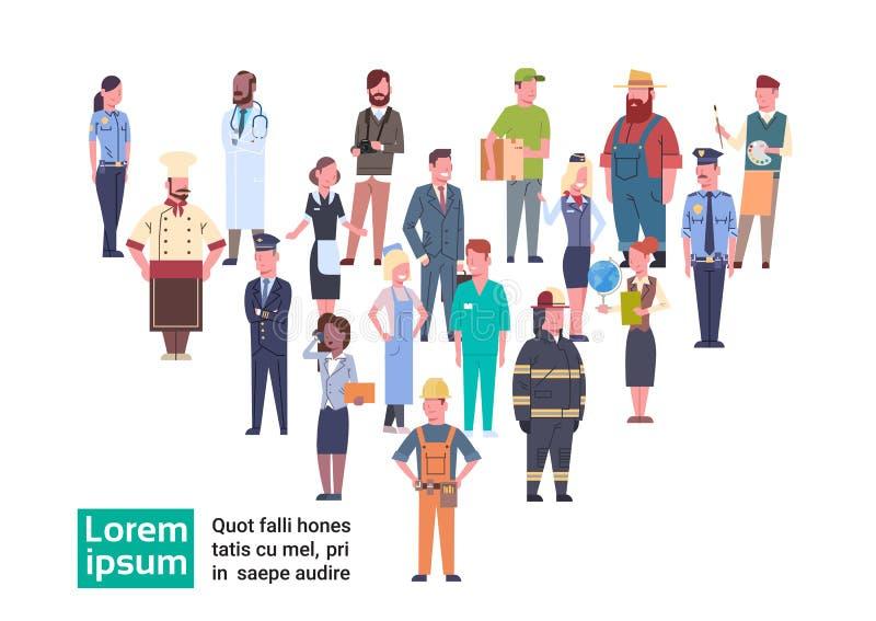 Ludzie Grupują Różnego zajęcia pracowników zawodu Ustaloną kolekcję ilustracja wektor