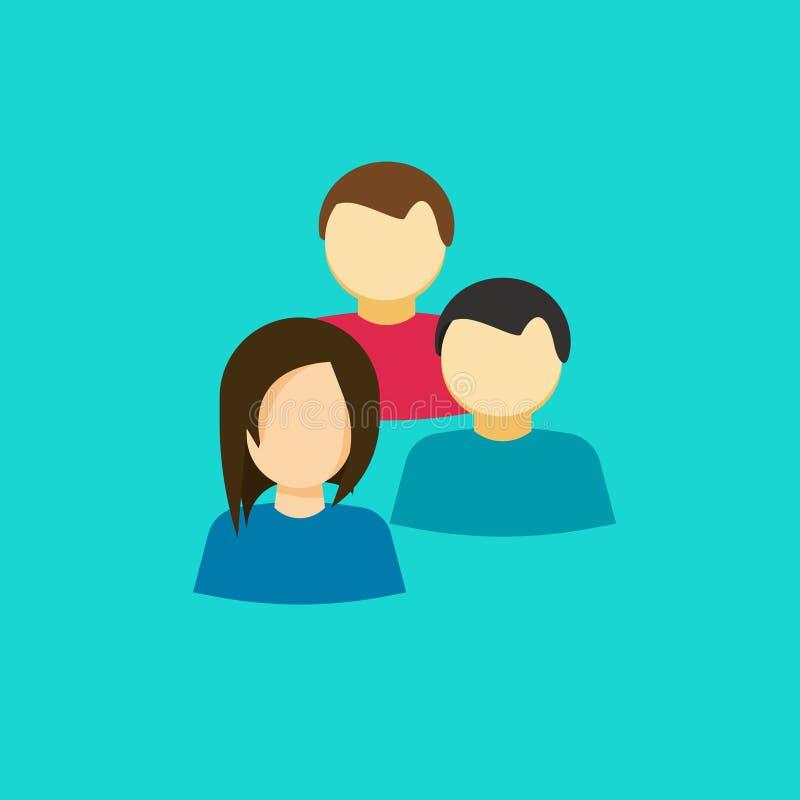 Ludzie grupują wektorową ikonę, płascy persons wpólnie, pomysł drużyna personel, współpraca ilustracja wektor