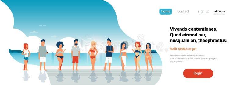 Ludzie grupują wschód słońca nadmorski tła drużyny wakacje wakacje letni plażowego pojęcia sztandaru kopii przestrzeni horyzontal ilustracji