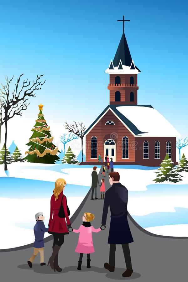 Ludzie iść kościół royalty ilustracja