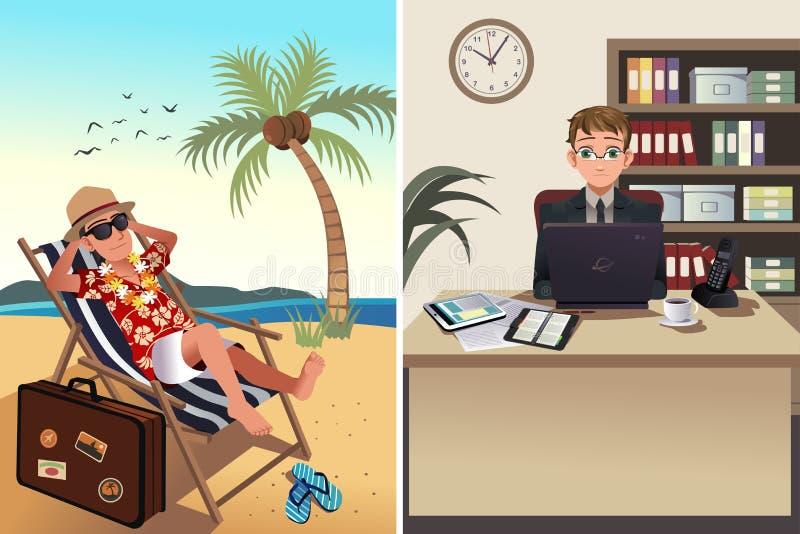Ludzie iść pracować pojęcie i być na wakacjach ilustracja wektor