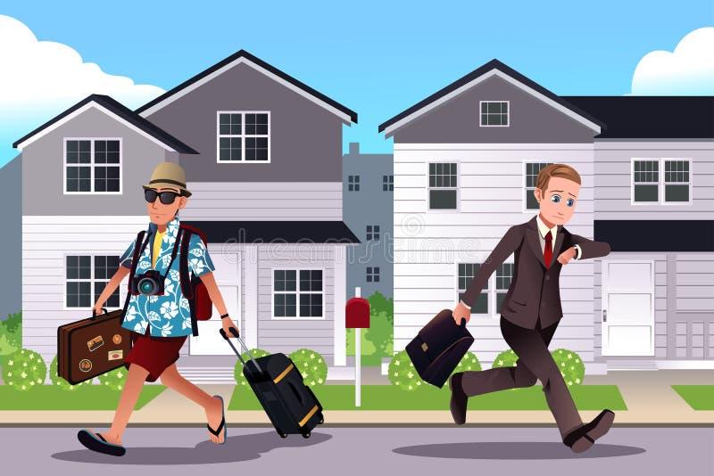 Ludzie iść pracować pojęcie i być na wakacjach royalty ilustracja