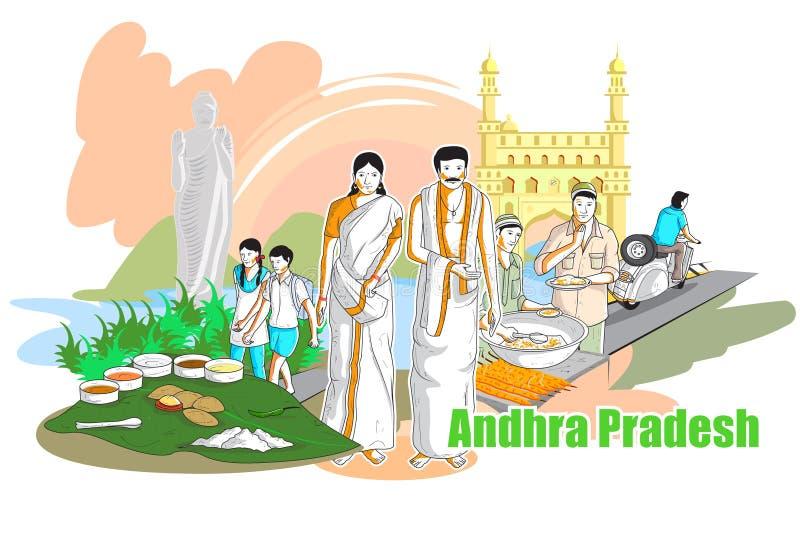 Ludzie i kultura Andhra Pradesh, India ilustracji