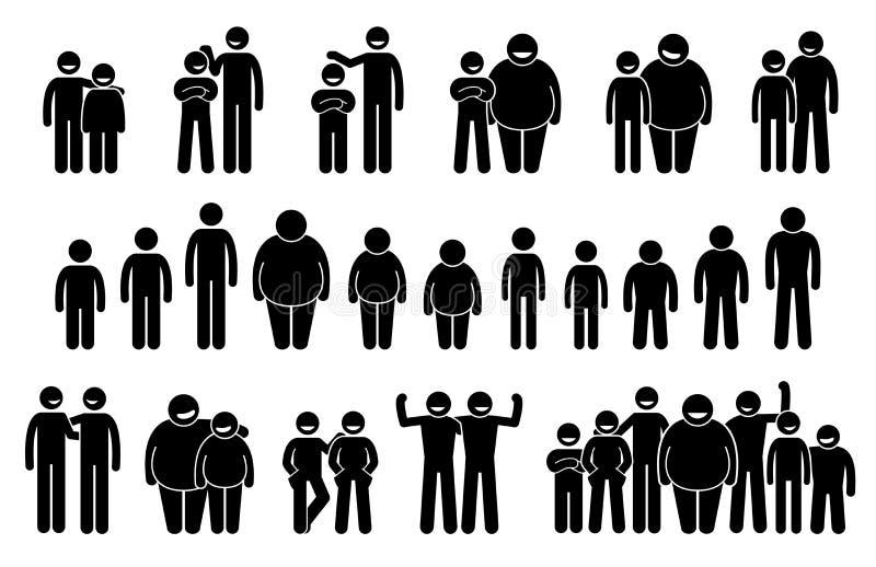 Ludzie i mężczyzna Różni ciało rozmiary i wzrosty ikona royalty ilustracja
