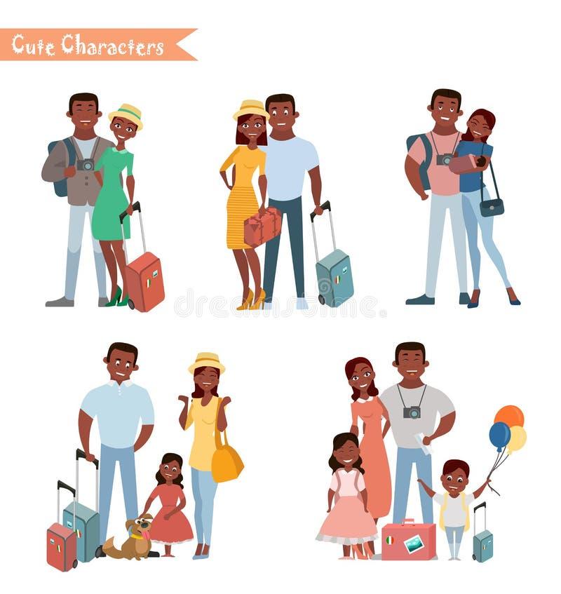 Ludzie i rodzinny podróżować na wakacje ilustracja wektor