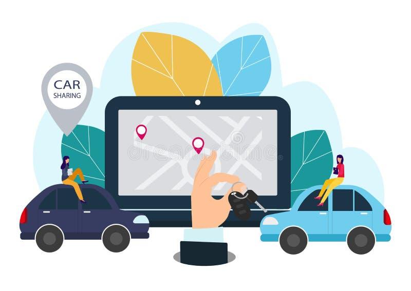 Ludzie i samochód Robić transakcjom online samochodu czynsz Wektorowa ilustracja w mieszkanie stylu royalty ilustracja