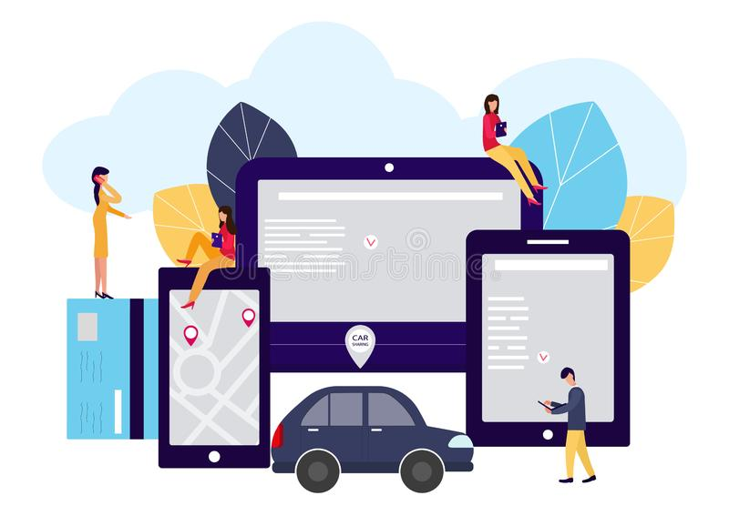 Ludzie i samochód Robić transakcjom online samochodu czynsz Wektorowa ilustracja w mieszkanie stylu ilustracji