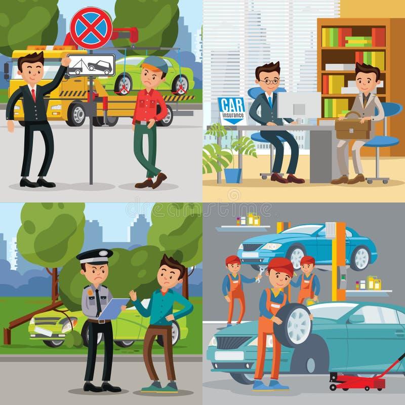 Ludzie I samochodu Kwadratowy pojęcie royalty ilustracja