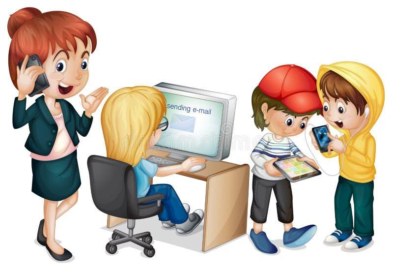 Ludzie i technologia royalty ilustracja