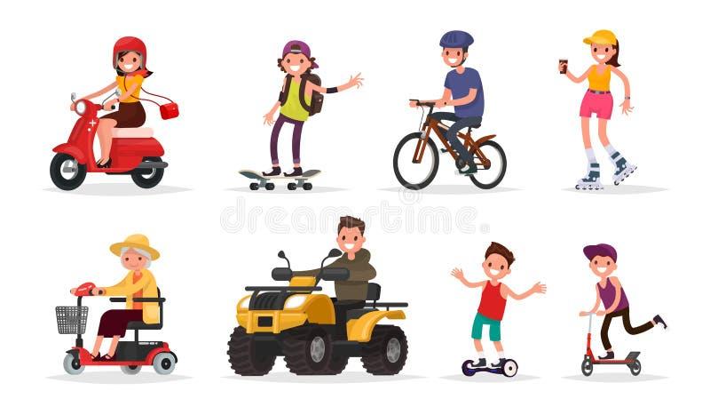 Ludzie i toczący: pojazdy, hulajnoga, deskorolka, bicykl, rolka royalty ilustracja